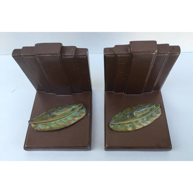 Image of Art Deco Skyscraper Era Canal Boat Bookends - Pair