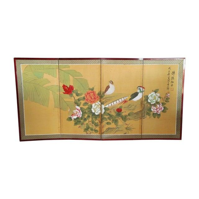 Japanese Silk Byobu Screen With Pheasants - Image 1 of 8