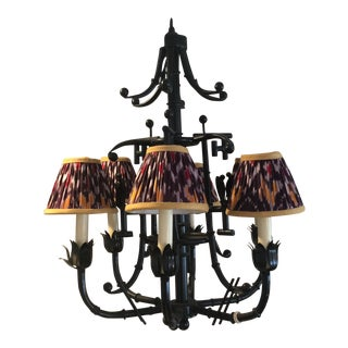 Vintage Faux Bamboo Chandelier With Ruched Lampshades
