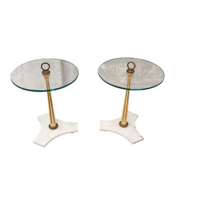 Image of Hollywood Regency Glass & Marble End Tables - Pair
