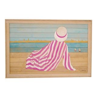 Beach Scene Painting on Wood