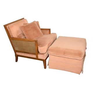 Vintage Arm Chair with Ottoman and Pillows
