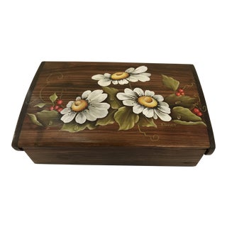 Mid-Century Modern Hand Painted Wooden Hinged Box