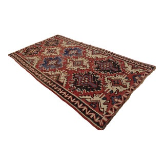 Antique Caucasian Handwoven Kilim Rug - 5′8″ × 10′7″