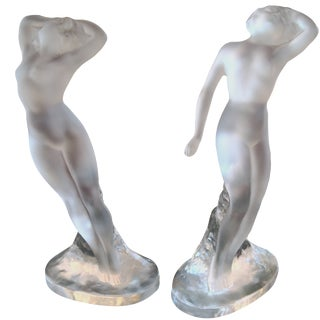 Lalique Frosted Female Figurines - A Pair