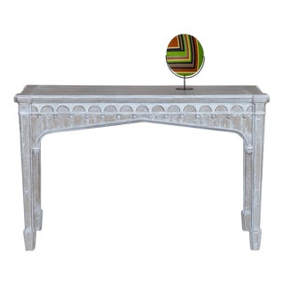 Antique English Painted Gothic Oak Console Server Table circa 1840