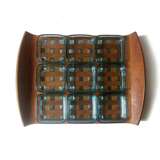 Dansk Teak Lattice Tray With Glass Dish Inserts - Image 3 of 6