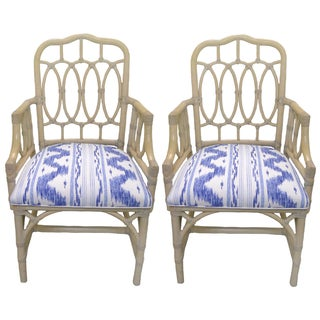 Rattan Loop-Style Armchairs - A Pair
