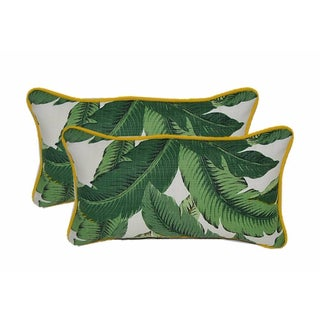 Palm Lumbar Pillows With Yellow Cording - a Pair