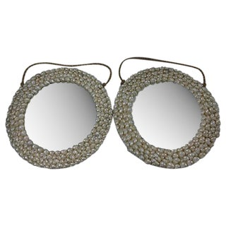 Round Seashell Mirrors - A Pair