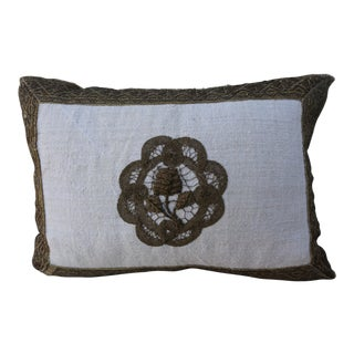 Gold Embroidered Floral Applique Linen Pillow