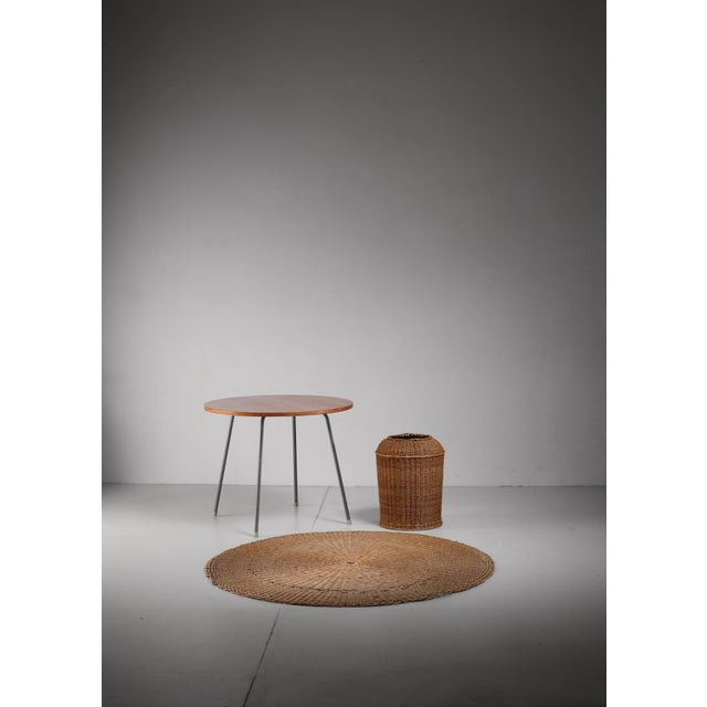 Egon Eiermann Table with Wicker Basket and Floor Mat, Germany, circa 1950 - Image 2 of 3