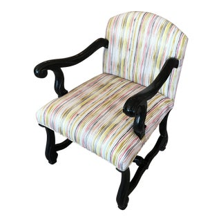 Ebony Frame & Striped Upholstered Side Chair