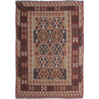 "Hand Knotted Maimana Kilim by Aara Rugs - 6'5"" x 4'11"""