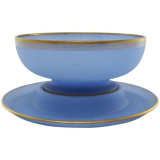 Azure Blue Frosted Glass Punch Bowl and Charger with Gold Rim