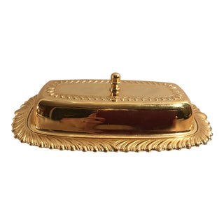Vintage Gold Metal Butter Dish
