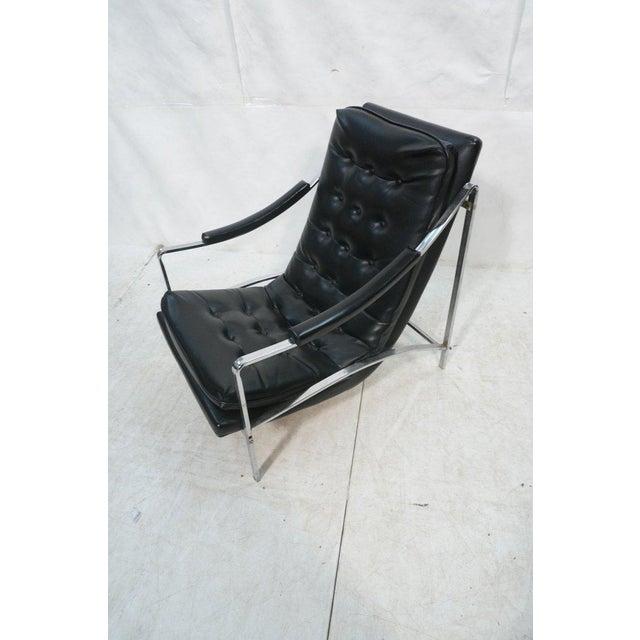 Mid-Century Modern Black Vinyl & Chrome Lounge Chair, Circa 1970 - Image 3 of 7