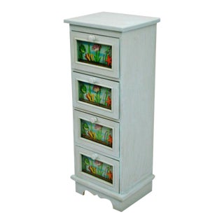 Sea Foam Blue 4 Drawer Nautical Themed Cabinet