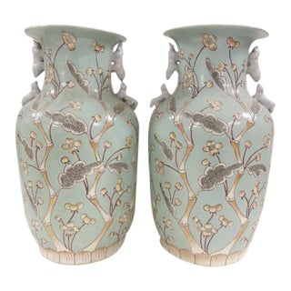 Chinese Vintage Bird & Flower Porcelain Vases - A Pair