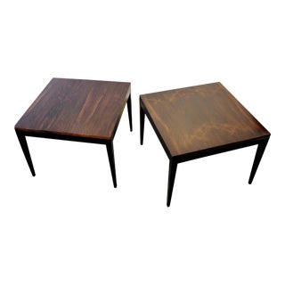 1960s Harvey Probber Rosewood & Ebonized End Tables - A Pair