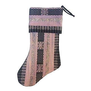 Vintage Tribal Silk Ribbon Christmas Stocking