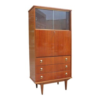 Monumental French Art Deco Dark Mahogany Bar / Credenza Drop Down Front Circa 1940s