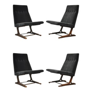 Rare Dunbar Cantilever Lounge Chairs by Edward Wormley, Model 480