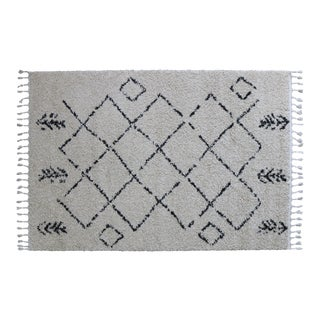 Ivory Moroccan Design Patterned Shag Rug - 5'4'' x 8'