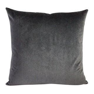 Silver Gray & Black Striped Velvet Pillow
