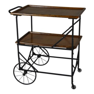 Antique Industrial Black Iron and Oak Folding Bar Cart