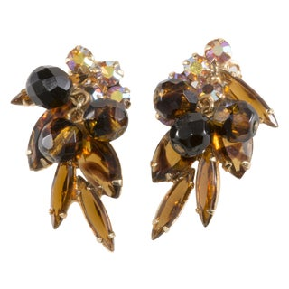 DeLizza & Elster Tiger Stripe Rhinestone Earrings
