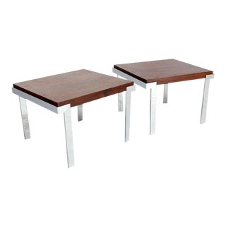 Pair of Baughman Rosewood & Chrome Mid-Century Modern End Tables