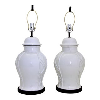 White Ceramic Faux Bamboo Asian Pottery Mid-Century Modern MCM Table Lamps - a Pair