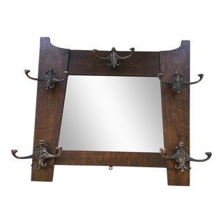 Antique Hall Mirror With Hooks