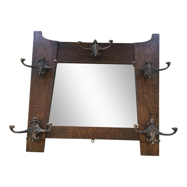 Antique hall mirror with hooks chairish for Mirror hooks