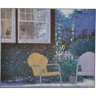"""Summer in Professorville"" Palo Alto Garden Oil Painting"