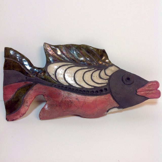Raku pottery fish sculpture chairish for Ceramic fish sculpture