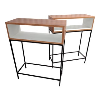 Room & Board Mahogany and Steel Accent Tables - A Pair