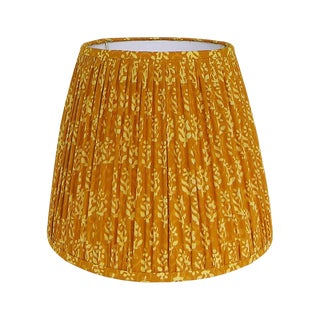 New, Made to Order, Mustard Yellow Indian Block Print, Large Pleated/Gathered Lamp Shade