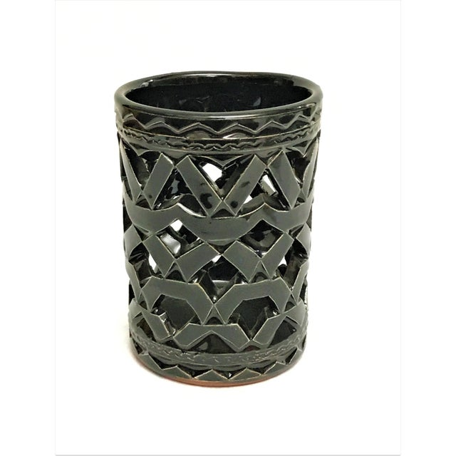 Moroccan Hand Painted Black Ceramic Tealight Holder - Image 2 of 2