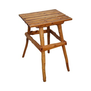 Rustic Adirondack Solid Cedar Wood Side Table