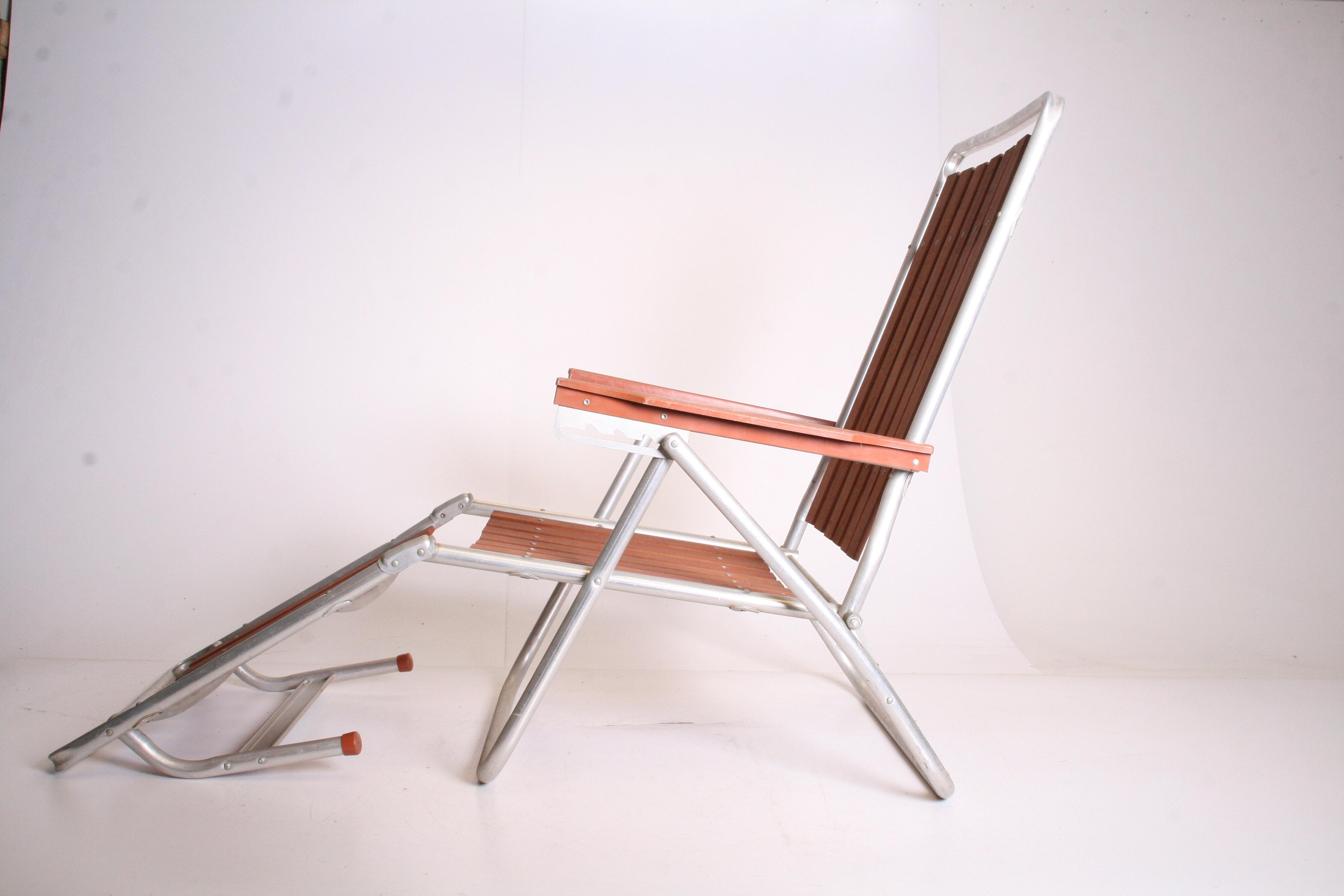 Mid Century Redwood Aluminum Folding Chaise Lounge Chair - Image 5 of 11  sc 1 st  Chairish : aluminum folding chaise lounge chairs - Sectionals, Sofas & Couches