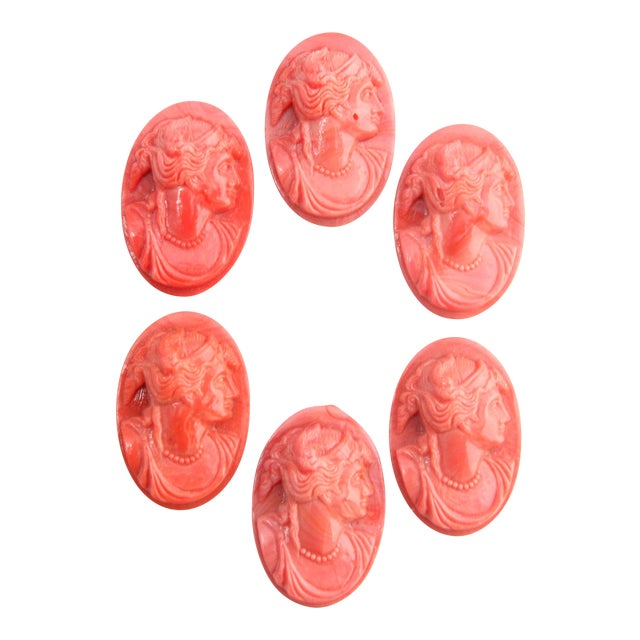 European Coral Glass Cameos - Set of Six - Image 1 of 9