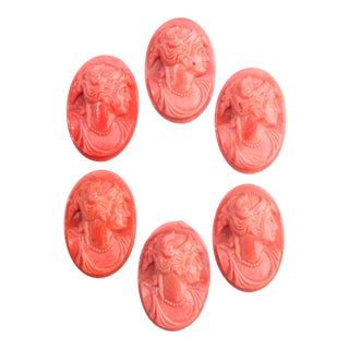 European Coral Glass Cameos - Set of Six