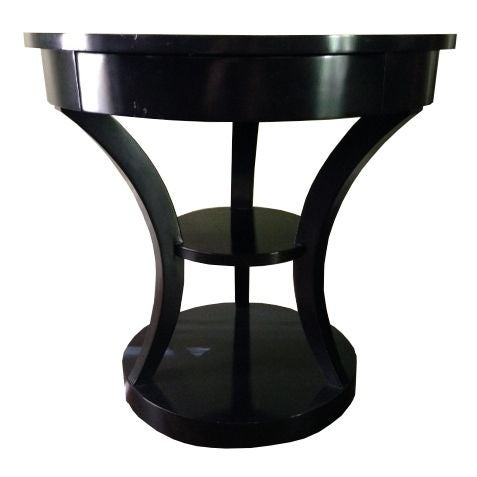 Round Black Lacquered Side Table - Image 1 of 6