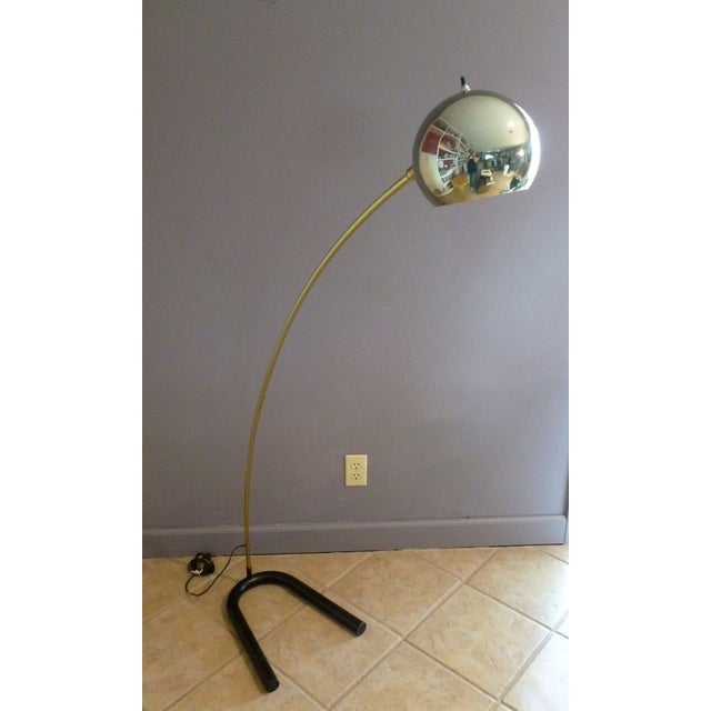 vintage brass mid century modern arc floor lamp chairish. Black Bedroom Furniture Sets. Home Design Ideas