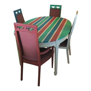 Vintage Colorful Dining Room Table & 4 Chairs