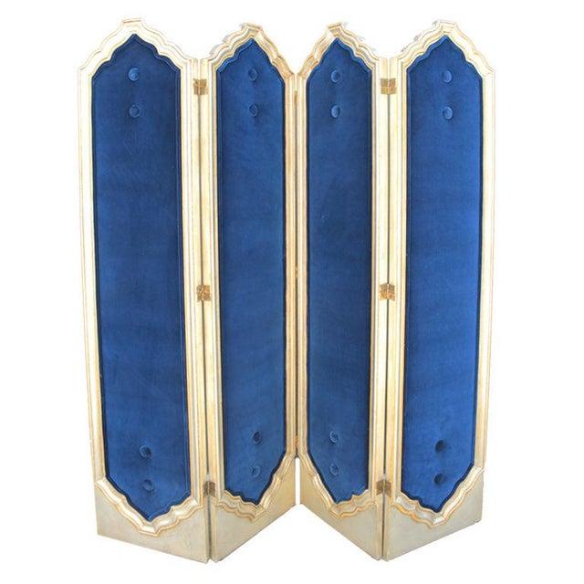 Blue Four Panel Regency Gilded Screen - Image 1 of 5