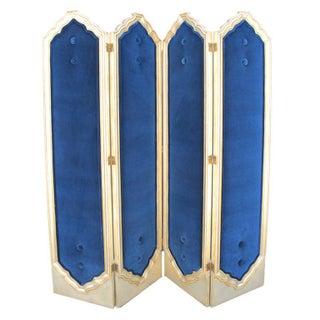 Blue Four Panel Regency Gilded Screen