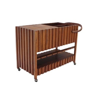 Mid-Century Modern Solid Oiled Walnut Bar Serving Cart